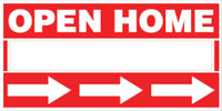 Real estate signs including real estate open home signs